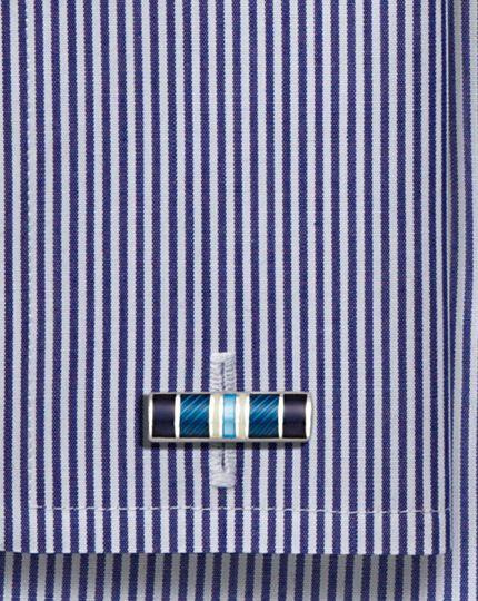 Blue enamel stripe rectangle cufflinks