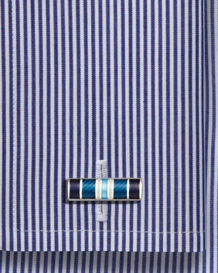 Blue enamel stripe rectangle cufflinks