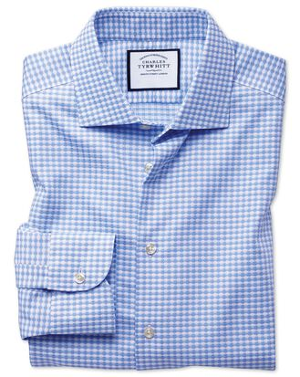 Slim fit semi-cutaway business casual non-iron modern textures sky blue dogtooth shirt