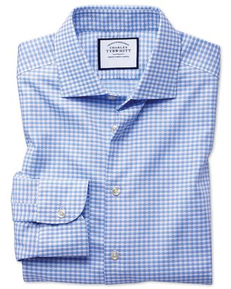 Chemise business casual bleu ciel extra slim fit à motif pied-de-poule, textures modernes et col semi-cutaway, sans repassage