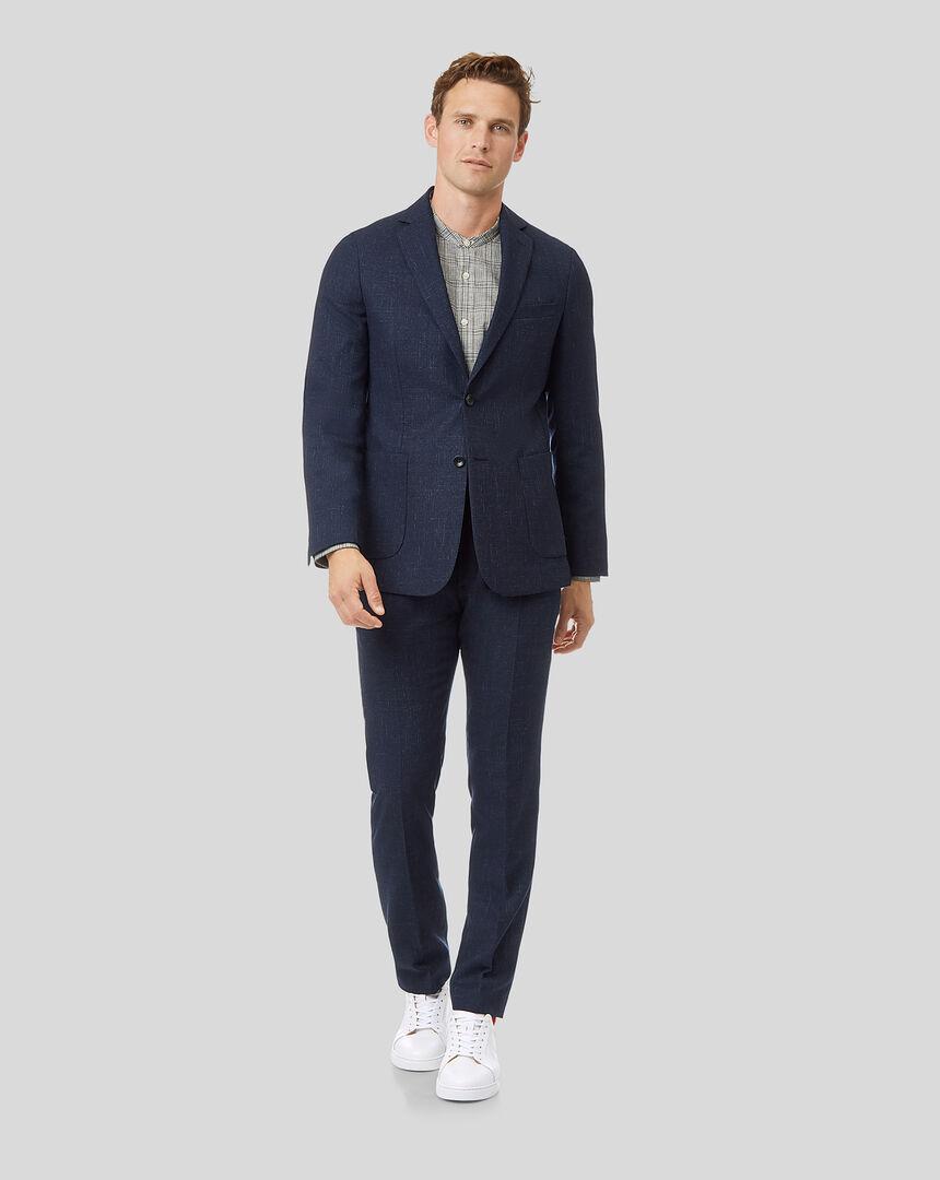 Textured Wool Blend Suit - Navy
