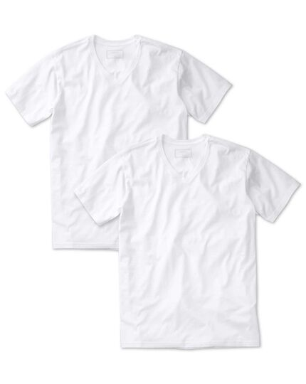 2 pack white v-neck cotton undershirt t-shirts