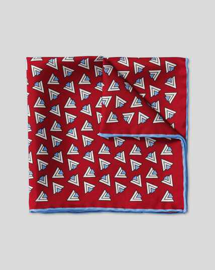 Retro Triangle Print Pocket Square - Red & Sky