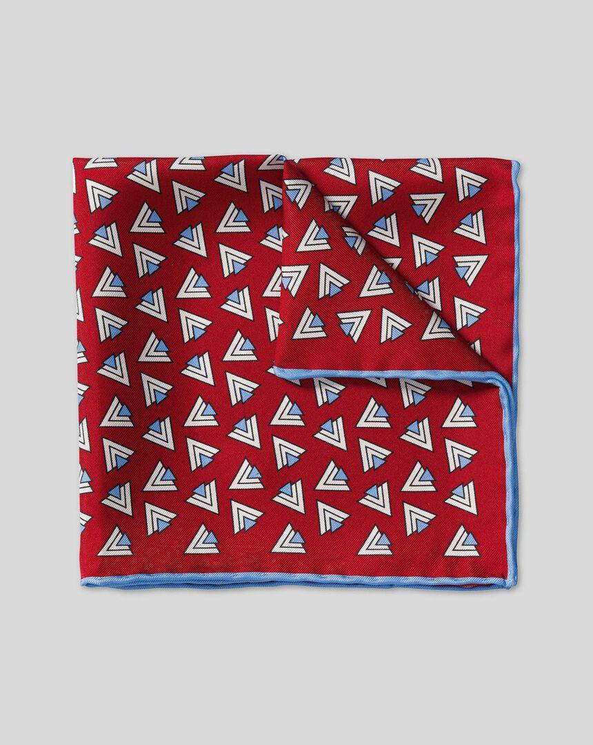 Retro Triangle Print Pocket Square - Red & Sky