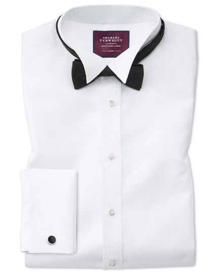 Slim fit wing collar luxury Marcella bib front white tuxedo shirt