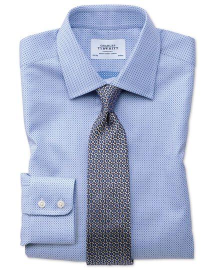 Slim Fit Hemd aus ägyptischer Baumwolle in Himmelblau mit Bunten, eingewebten Tupfen
