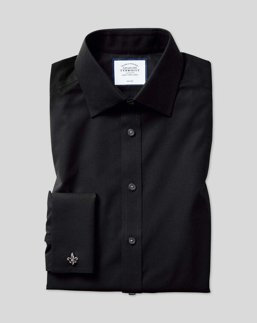 Bügelfreies Popeline-Hemd mit Kent Kragen  - Schwarz