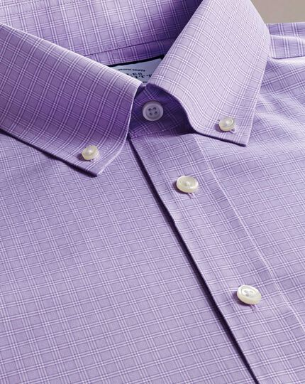 Classic fit non-iron Prince of Wales check lilac poplin shirt