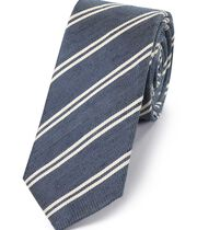 Navy and white silk linen slim stripe classic tie