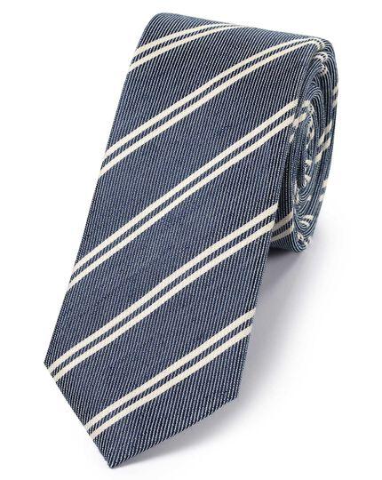 Navy and white silk linen slim stripe classic tie