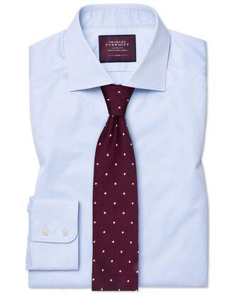 Slim fit semi-spread collar luxury twill light blue shirt
