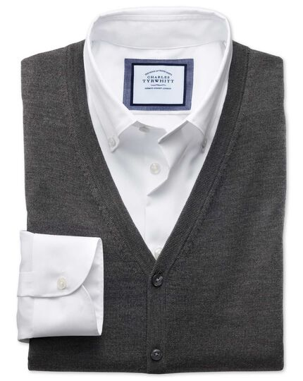 Charcoal merino wool vest