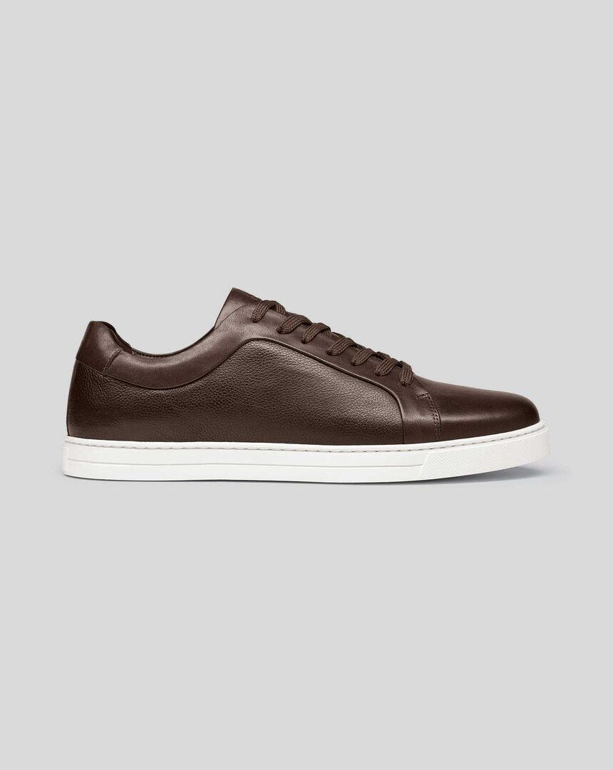 Leather Trainers - Chocolate