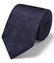 Navy silk textured square design classic tie