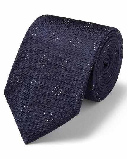 Navy silk textured square design classic tie