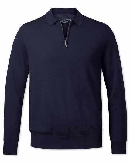Pull bleu marine en laine mérinos à col polo zippé