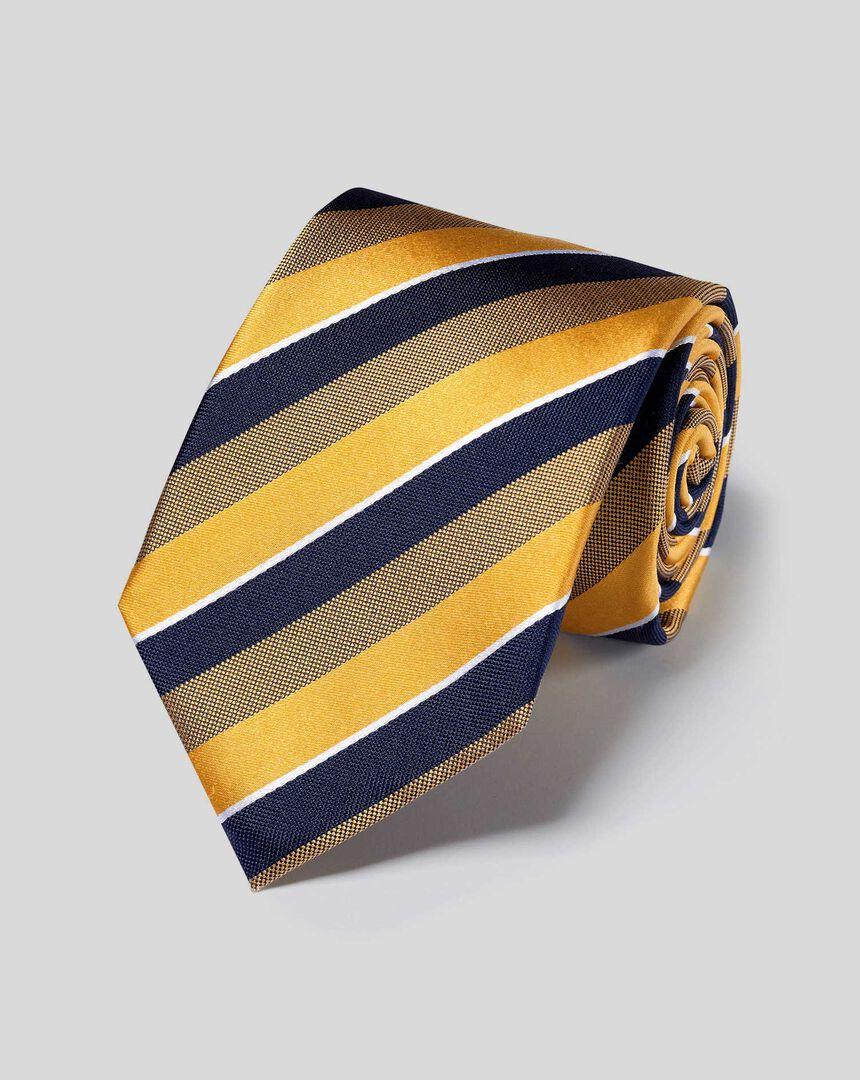 Satin-Krawatte aus Seide mit Streifen - Gold