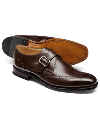 Chocolate Goodyear welted brogue monk shoe