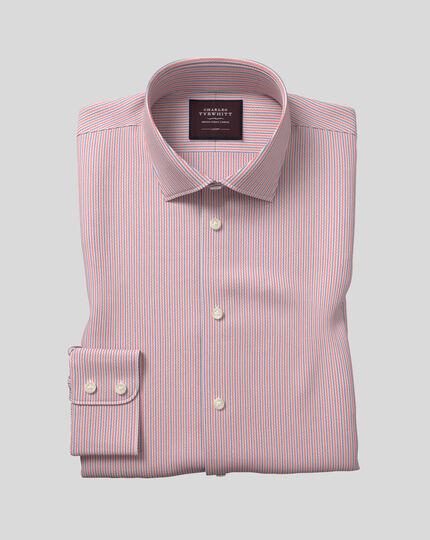 Semi-cutaway Collar Italian Dobby Stripe Shirt- Pink