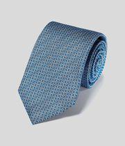 Silk Chain Print Classic Tie - Blue