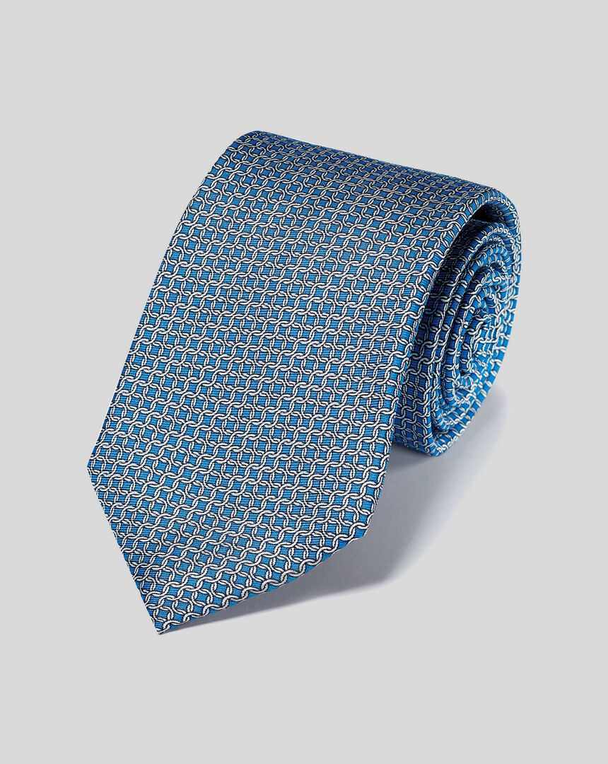 Krawatte aus Seide mit Ketten-Print - Blau