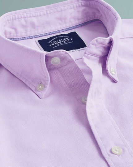 Classic fit lilac plain button-down washed Oxford shirt