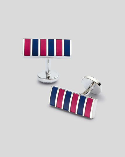 Enamel Stripe Cufflinks - Burgundy & Navy