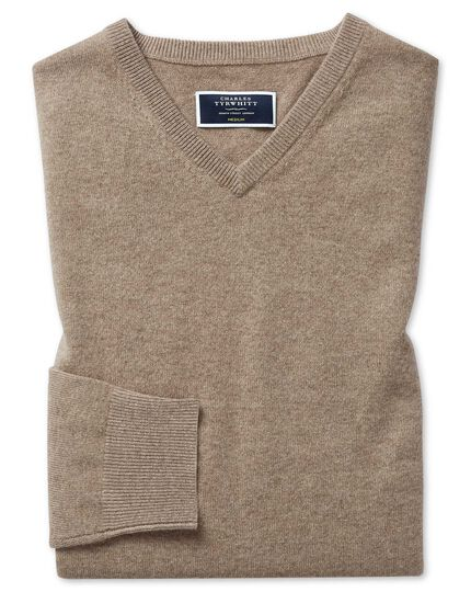 Mocha cashmere v neck sweater