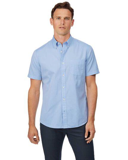 Chemise à col boutonné et manches courtes en oxford bleu ciel délavé slim fit