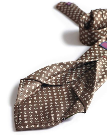 Brown luxury silk English 7-fold tie