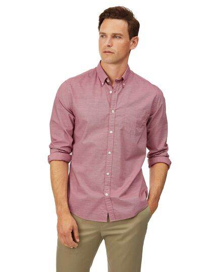 Extra slim fit red soft washed stretch poplin plain shirt