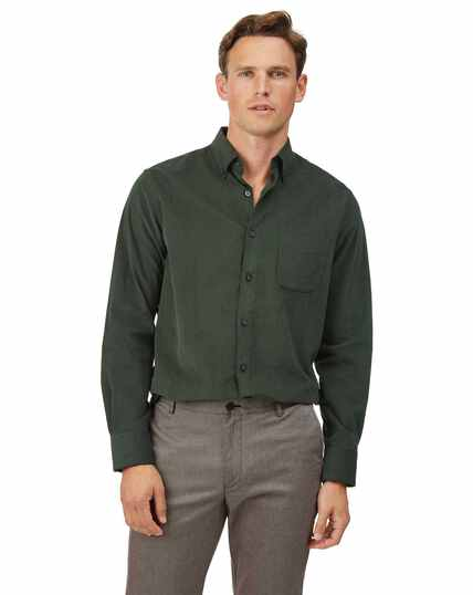 Slim fit button-down fine corduroy dark green shirt