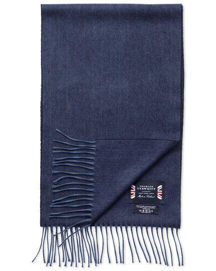 Navy herringbone cashmere and merino scarf