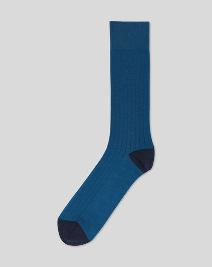 Cotton Rib Socks  - Dark Blue