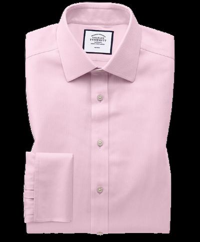 Bügelfreies Classic Fit Arrowweave-Hemd in Rosa