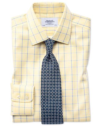 Extra slim fit non-iron Prince of Wales yellow and royal blue shirt