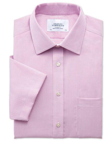 Bügelfreies Slim Fit Kurzarmhemd in Rosa mit Pinpoint-Streifen