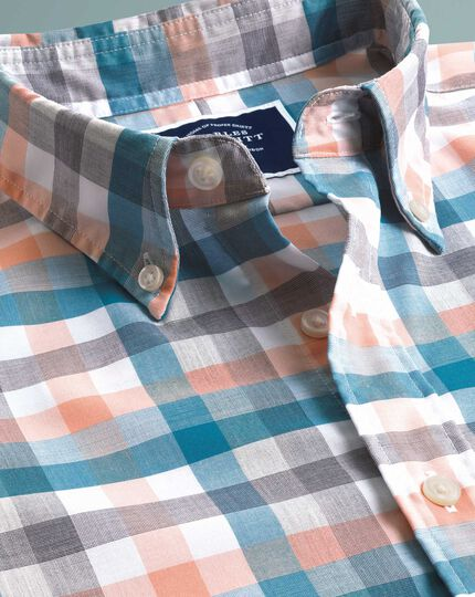 Multi Check Short Sleeve Soft Washed Non-Iron Tyrwhitt Cool Shirt - Coral