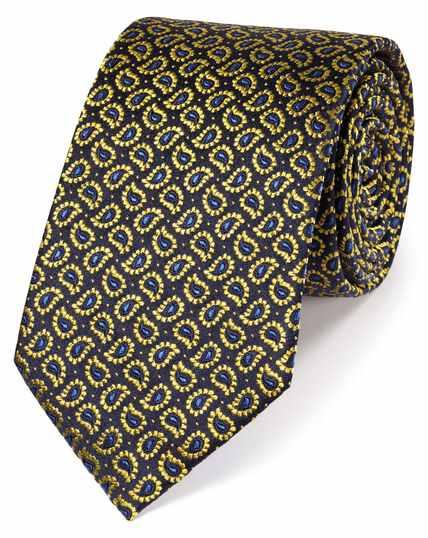 Cravate classique or en soie à imprimé cachemire