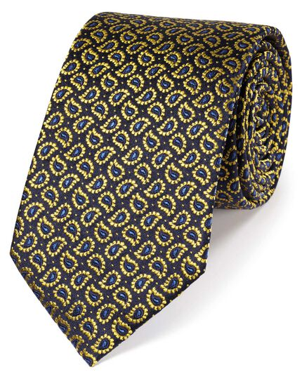 Gold silk paisley classic tie