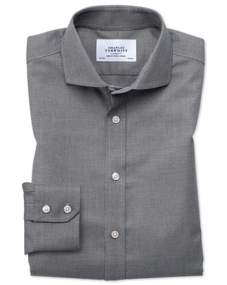 Extra slim fit spread collar non-iron textured black and white shirt