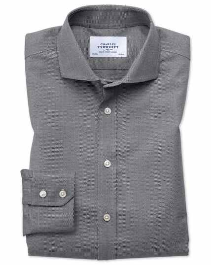 Extra slim fit cutaway non-iron textured black and white shirt