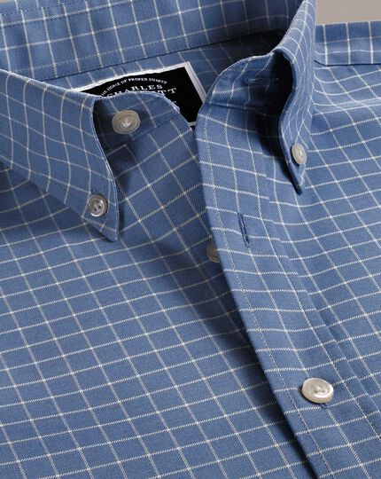 Classic fit non-iron sky blue grid check twill shirt