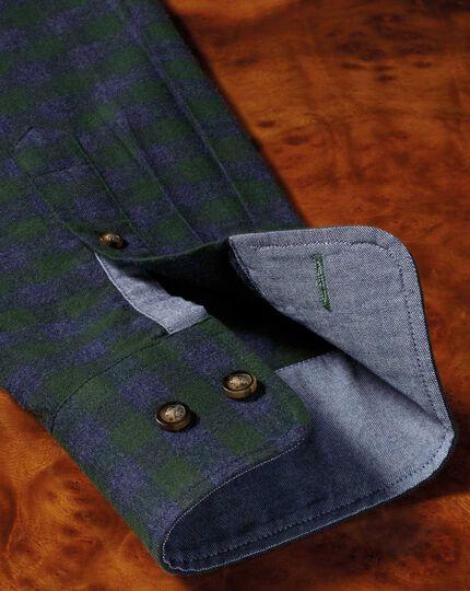 Slim Fit weiches Baumwoll-Hemd in Grün und Blau mit Karos