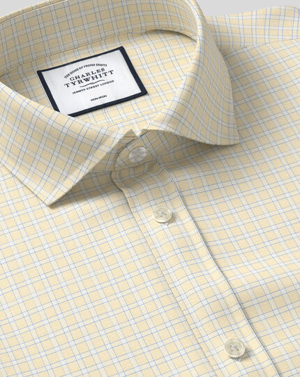 Spread Collar Non-Iron Grid Check Shirt - Yellow