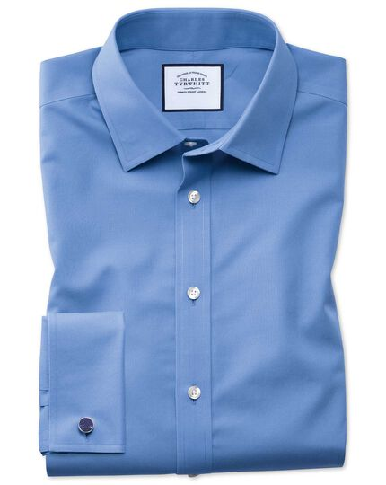 Classic fit blue non-iron poplin shirt