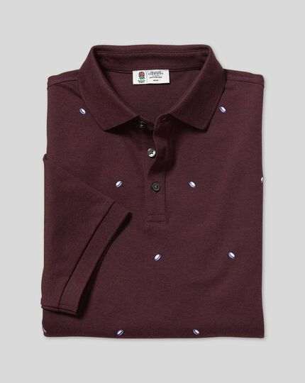 England Rugby Embroidered Pique Polo - Wine