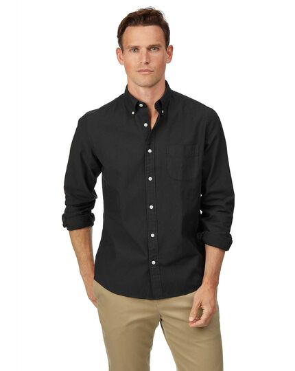 Slim fit charcoal button-down washed Oxford plain shirt