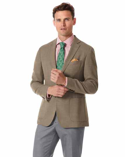 Slim fit fawn Italian wool blazer