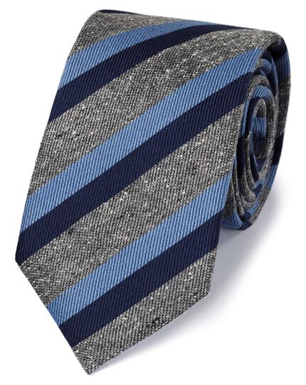 Navy silk mix fleck stripe classic tie